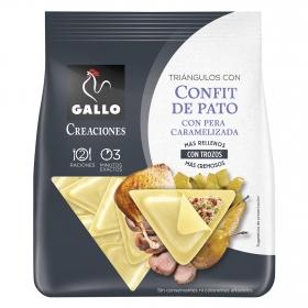 Triángulos de confit de pato con cebolla caramelizada Gallo 250 g.