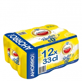 Cerveza Amstel 0,0 sin alcohol Radler con limón pack de 12 latas de 33 cl.