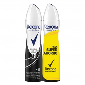 Desodorante en spray Invisible Rexona pack de 2 unidades de 200 ml.