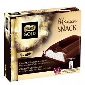 Barritas de mousse de leche con coulis de chocolate recubiertas de chocolate negro Nestlé Golg pack de 4 unidades de 120 g.