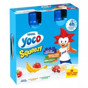 Petit de fresa y plátano en bolsitas squeezy Nestlé Yoco sin gluten pack de 4 unidades de 80 g.