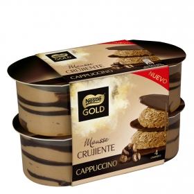 Mousse de cappuccino crujiente Nestlé Gold pack de 4 unidades de 57 g.