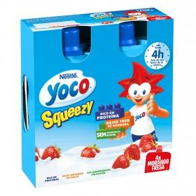 Petit de fresa en bolsitas squeezy Nestlé Yoco sin gluten pack de 4 unidades de 80 g.