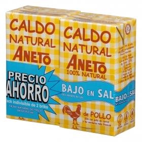 Caldo natural de pollo bajo en sal Aneto sin gluten y sin lactosa pack de 2 briks de 1 l.