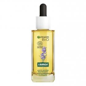 Aceite reafirmante de lavanda para rostro ecológico Garnier 30 ml.