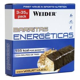 Barritas energéticas sabor yogur muesli Weider pack de 3 barritas de 35 g.