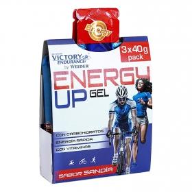 Gel energético sabor sandía Victory pack de 3 bolsitas de 40 g.