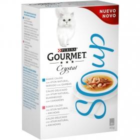 Comida para gatos en Sopa con Atún Natural servido con Gambas y Atún Natural con Anchoas