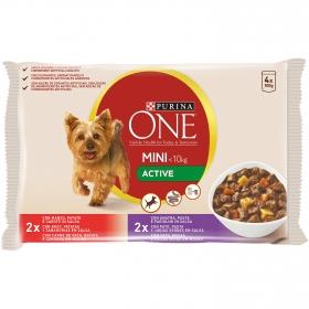 Comida para perros Mini Active con Buey y Pato en Salsa 4x100g