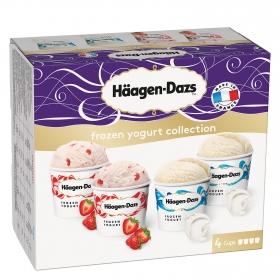 Vasitos de helado de yogur y fresa
