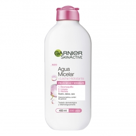Agua micelar + leche hidratante Garnier Skin Active 400 ml.