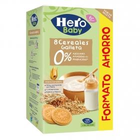 Papilla infantil desde 6 meses de 8 cereales con galleta sin azúcar añadido Hero Baby sin lactosa 280 g.