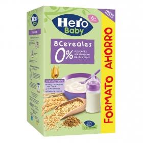 Papilla infantil desde 6 meses de 8 cereales sin azúcar añadido Hero Baby sin lactosa 280 g.