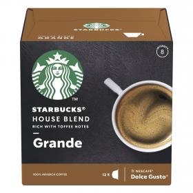 Café house blend en cápsulas Starbucks compatible con Dolce Gusto 12 unidades de 8,5 g.