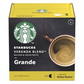 Café veranda americano en cápsulas Starbucks compatible con Dolce Gusto 12 unidades de 8,5 g.