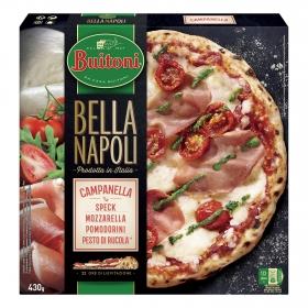 Pizza de jamón, tomate, mozzarella y pesto Campanella Bella Napoli Buitoni 430 g.