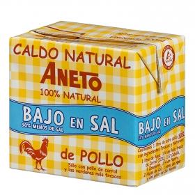 Caldo natural de pollo bajo en sal Aneto sin gluten sin lactosa 500 ml.