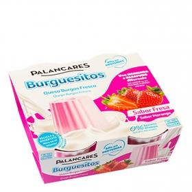 Queso de Burgos sabor fresa sin azúcar añadido Palancares pack de 2 unidades de 250 g.