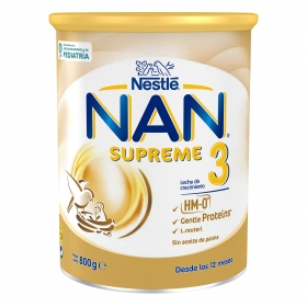 Leche infantil de crecimiento desde los 12 meses en polvo Nestlé Nan Supreme 3 sin aceite de palma lata 800 g.