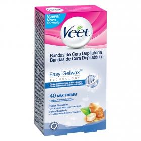 Bandas de cera depilatoria para pieles sensibles Veet 40 ud.