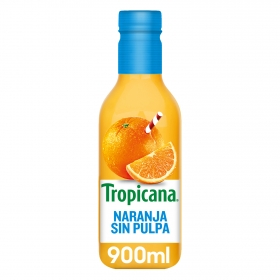 Zumo de naranja Tropicana exprimido sin pulpa botella 90 cl.