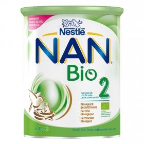 Leche infantil de continuación desde 6 meses en polvoecológica Nestlé Nan Bio 2 lata 800 g.