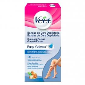 Bandas de cera depilatoria para pieles sensibles Veet 20 ud.
