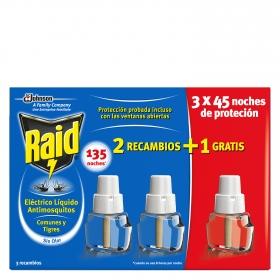 Recambio insecticida eléctrico para mósquitos común y tigre Raid 3 ud.