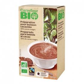 Preparado para bebida de cacao ecológico Carrefour Bio 500 g.