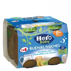 Tarrito de verduras con pescadilla a la crema Hero Babynoches pack de 4 unidades de 190 g.