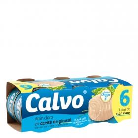 Atún claro en aceite de girasol Calvo pack de 6 unidades de 52 g.