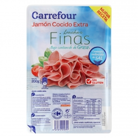 Jamón cocido extra bajo en sal lonchas finas Carrefour sin gluten 200 g.