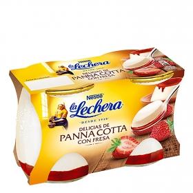 Panna Cotta con fresa Nestlé La Lechera pack de 2 unidades de 125g.