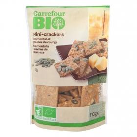 Crackers minis con queso emmental y semillas de calabaza ecológicos Carrefour Bio 110 g.