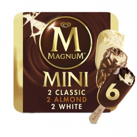 Bombón helado Classic Almond White Magnum sin gluten 6 ud.