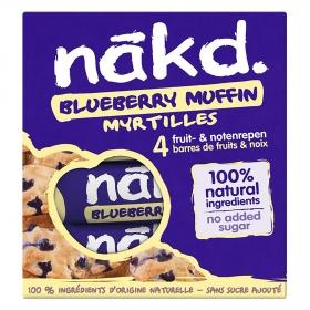 Barritas de fruta con frutos secos y arándanos sin azúcar añadido Nakd pack 4 unidades de 35 g.