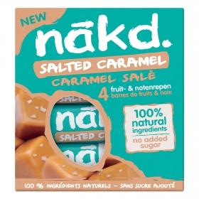 Barritas de fruta y frutos secos con sal de mar y un toque de caramelo sin azúcar añadido Nakd pack de 4 unidades de 35 g.