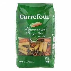 Macarrones rayados vegetales Carrefour 500 g.