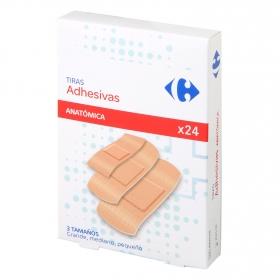 Tiras adhesivas color piel varios tamaños Carrefour 24 ud.