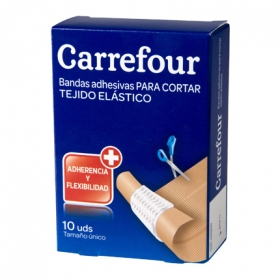 Tiras adhesivas de tejido elástico 10x6 cm. Carrefour 10 ud.