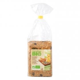 Crackers con emmental y pipas de calabaza ecológicos Carrefour Bio 200 g.