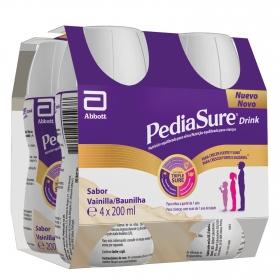Complemento alimenticio de vainilla Pediasure Drink pack de 4 unidades de 200 ml.