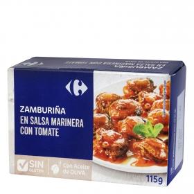 Zamburiñas en salsa vieira con aceite de oliva Carrefour sin gluten 115 g.