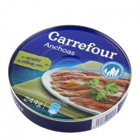 Anchoas en aceite de oliva Carrefour 185 g.