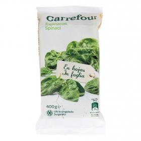 Espinacas en hojas Carrefour 400 g.