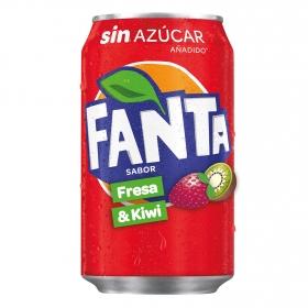 Refresco de fresa y kiwi Fanta con gas lata 33 cl.