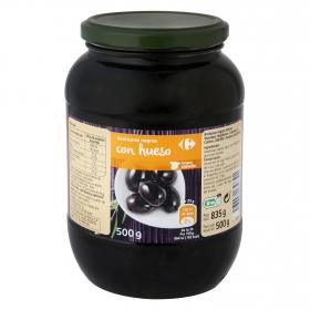 Aceitunas negras con hueso Carrefour 500 g.