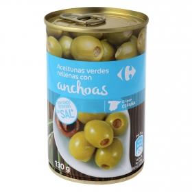 Aceitunas verdes rellenas con anchoa Carrefour 130 g.