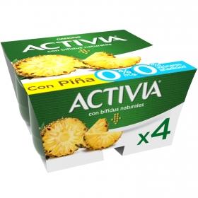 Yogur bífidus desnatado con piña Danone Activia pack de 4 unidades de 125 g.