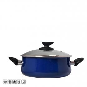 Cacerola con tapa de acero esmaltado Mod Danubio 16 cm  azul